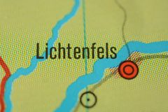 The city name LICHTENFELS the map. The city name LICHTENFELS, Bavaria,  region upper Franconia  Germany, on the physical map of the country Royalty Free Stock Image