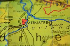 The city name MÜNSTER  on the map. The city name MÜNSTER, Germany, on the physical map of the country Royalty Free Stock Photos