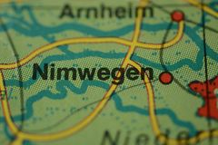 The city name NIJMEGEN /NIMWEGEN on the map. The city name NIJMEGEN /NIMWEGEN,  Netherlands on the physical map of the country Royalty Free Stock Photography