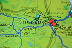 The city name OLDENBURG on the map. The city name OLDENBURG , Germany, on the physical map of the country Stock Photography
