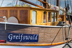 Free City Name On A Wooden Ship In The Harbor Of Greifswald Royalty Free Stock Photography - 161049617