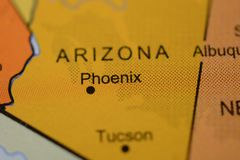 The city name PHOENIX, Arizona, USA , on the map. The city name PHOENIX , Arizona, USA , on the map of the country stock image