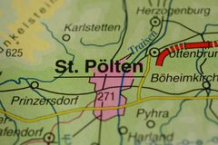 The city name St Pölten  on the map. The city name St Pölten,  Austria, the Main on the physical map of the country Stock Photo