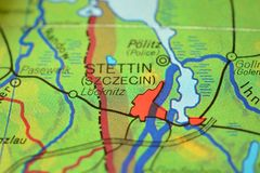 The city name STETTIN Szczecin , Poland, on the map. The city name STETTIN, Szczecin, Poland, on the physical map of the country royalty free stock image