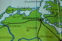 The city name STRALSUND on the map. The city name STRALSUND, Germany, on the physical map of the country Stock Photography