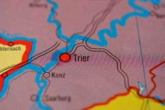 The city name TRIER  on the map. The city name TRIER  Germany, on the physical map of the country Royalty Free Stock Photos