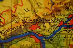 The city name WIESBADEN on the map. The city name WIESBADEN,  Germany,  on the physical map of the country Royalty Free Stock Photography