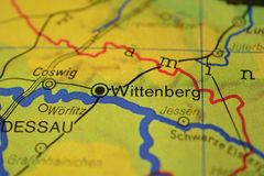 The city name WITTENBERG on the map. The city name WITTENBERG , Germany, on the physical map of the country Stock Image