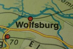 The city name WOLFSBURG on the map. The city name WOLFSBURG , Germany, on the physical map of the country Royalty Free Stock Images