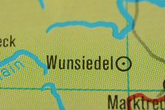 The city name WUNSIEDEL on the map. The city name WUNSIEDEL,  Bavaria, Germany, on the physical map of the country Stock Images
