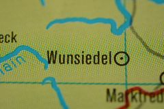 The city name WUNSIEDEL on the map. The city name WUNSIEDEL,  Bavaria, Germany, on the physical map of the country Stock Photos