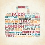 City names Bag Design Stock Photography