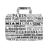 City names Bag Design Royalty Free Stock Images