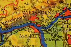 The city names WIESBADEN and MAINZ  on the map. The city names WIESBADEN and MAINZ,  Germany, on the physical map of the country Stock Photo