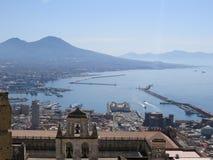 The city of Naples from above. Napoli. Italy. Vesuvio volcano behind. stock photo
