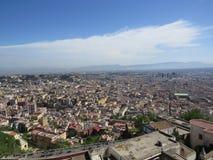 The city of Naples from above. Napoli. Italy. Vesuvius volcano behind.Orthodox church cross and the moon. The city of Naples from above. Napoli. Italy. Vesuvius Royalty Free Stock Photos