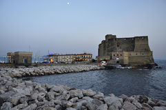 City of Naples, leisure marina at dusk. Castel dell'Ovo Stock Photo
