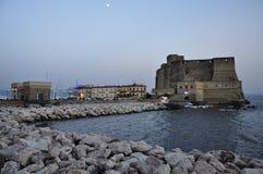 City of Naples, leisure marina at dusk. Castel dell'Ovo Stock Photo