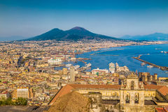 City of Naples with Mt. Vesuvius at sunset, Campania, Italy Stock Photography