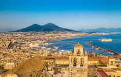 City of Naples with Mt. Vesuvius at sunset, Campania, Italy Royalty Free Stock Photos