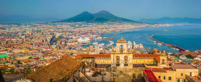 City of Naples with Mt. Vesuvius at sunset, Campania, Italy Royalty Free Stock Image