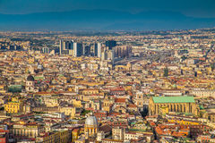 City of Naples at sunset, Campania, Italy royalty free stock images