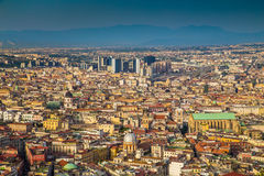 City of Naples at sunset, Campania, Italy royalty free stock image