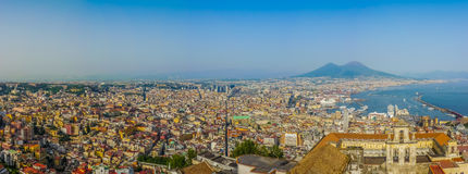 City of Napoli with Mount Vesuvius at sunset, Campania, Italy stock image