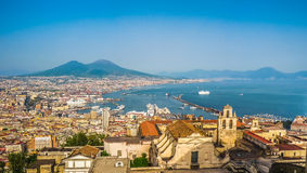 City of Napoli with Mount Vesuvius at sunset, Campania, Italy royalty free stock photo
