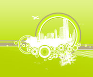 City and nature with circles. On green background Stock Illustration