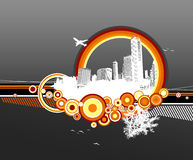 City and nature with circles. On grey background Royalty Free Illustration