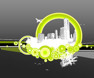City and nature with circles. City and nature with circles on grey background Royalty Free Illustration
