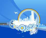 City and nature with circles. City and nature with circles on blue background Stock Illustration