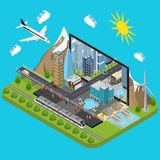 City on a Laptop Concept Isometric View. Vector Royalty Free Stock Images