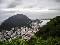 City and nature's contrast in Brazil. Skyline at Rio de Janeiro, Brazil, with the contrast of nature and modern city stock image