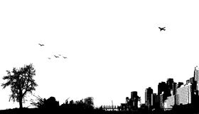 City with nature. Vector Royalty Free Stock Photo