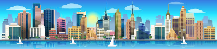 City and nature, vector landscape. Vector illustration