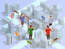 City Navigation Isometric Composition vector illustration