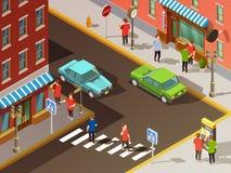 City Navigation Isometric Set royalty free illustration