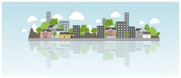 Flat design urban landscape illustration. Cityscape Banner with traditional and modern houses, mountains and trees. Royalty Free Stock Photos