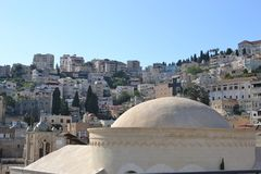 City of Nazareth in Israel, Basilica of annunciation, where Mary received the message of conceiving Jesus. City of Nazareth in Israel, Basilica of annunciation stock images
