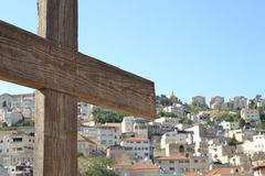 Wooden cross, City of Nazareth in Israel, Basilica of annunciation, where Mary received the message of conceiving Jesus. City of Nazareth in Israel, Basilica of stock photo