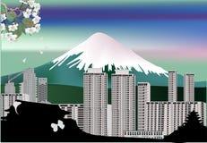 City near mountain illustration Stock Images