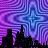 City neon rings royalty free stock photography