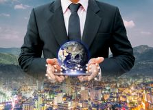 City Network communication network system business Earth on hand world of Elements of this image furnished by NASA royalty free stock photography
