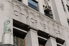City of New York. Carved on a government building's facade Royalty Free Stock Images