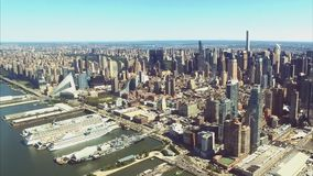 The city of New York is a bird`s-eye view. Skyscrapers of the ci. Ty of New York. aerial survey stock video