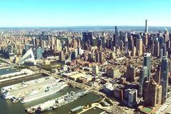 The city of New York is a bird`s-eye view. Skyscrapers of the ci royalty free stock photography