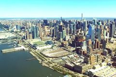 The city of New York is a bird`s-eye view. Skyscrapers of the city of New York. aerial survey stock image