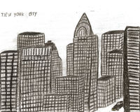 City new york hand drawn by kid,  illustration Stock Photos